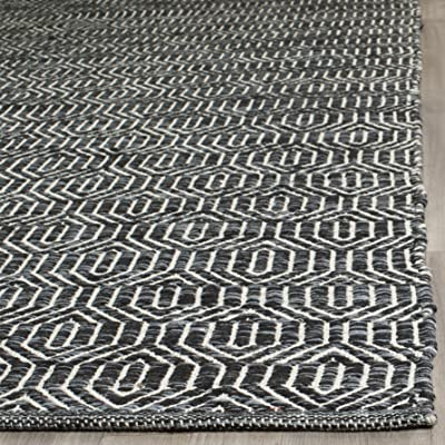 Safavieh Montauk Collection MTK413A Handmade Flatweave Ivory and Dark Grey Cotton Area Rug (8