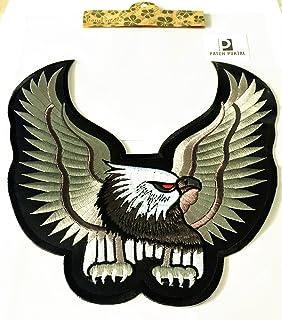 Patch Portal Bald American Eagle Emblem 9 Inches Large Back Patriotic Embroidery Decorative Grey Animal Wild Life Big Bird...