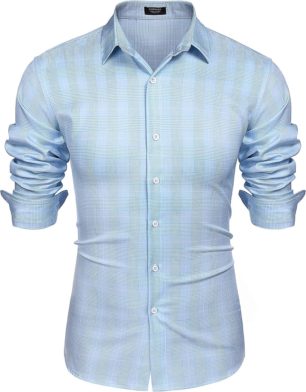 COOFANDY Men's Plaid Shirt Long Sleeve Casual Button Down Shirt Slim Fit Business Dress Shirts