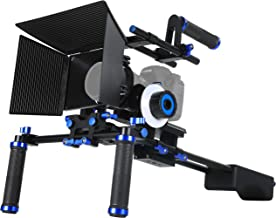 Morros DSLR Rig Set Movie Kit Shoulder Mount Rig + Follow Focus + Matte Box + Adjust Platform+ C Shape Support Cage +Top Handle for All DSLR Cameras and Video Camcorders