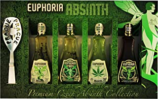 Euphoria Premium Absinthe Collection Set | Original - 80 - Black - Cannabis 4 x 50 ml, 35mg/kg thujone, Zucker, Löffel