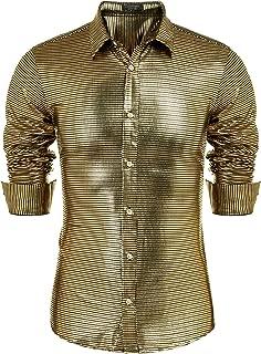 Men's Sequin Shirt Long Sleeve Button Down Shiny Disco Party Shirts