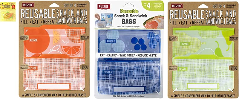 RUSSBE Pear Blueberry Orange 3 Pack 12 Total Reusable Lunch Snack Sandwich Zip Lock Bags For Adults Men Women Kids Boys Girls Teens With Silly Bands