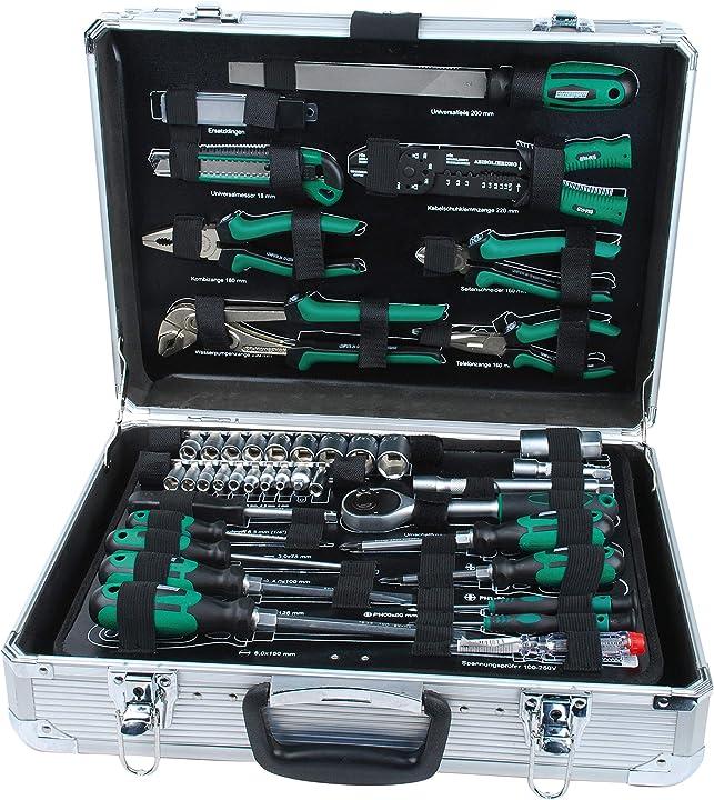 Valigetta degli attrezzi in alluminio, con attrezzi, 108 pz., 34 x 45 x 13 cm mannesmann - m29075