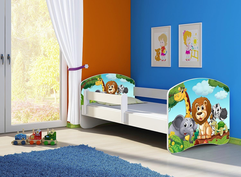 Clamaro 'Fantasia Wei' 160 x 80 Kinderbett Set inkl. Matratze und Lattenrost, mit verstellbarem Rausfallschutz und Kantenschutzleisten, Design  02 Tierpark-2