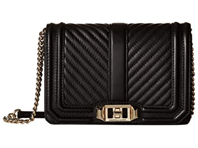 Rebecca Minkoff Chevron Quilted Small Love Crossbody (Black) Cross Body Handbags