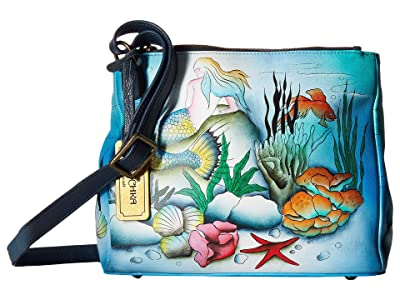 Anuschka Handbags Triple Compartment Convertible Tote 525 (Little Mermaid) Cross Body Handbags
