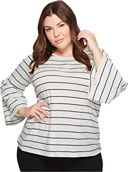 Plus Size Ruched Bell Sleeve Nova Thin Stripe Top