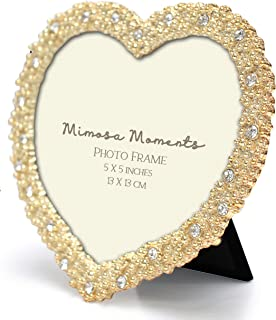 MIMOSA MOMENTS Heart Shaped Metal Picture Frame with Rhinestones Decor, Wedding Decor (Gold, 5x5)