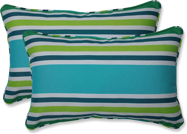 Pillow Perfect Outdoor Indoor Aruba Stripe Round Corner Chair Cushion 40 5 X 21 Turquoise Green Home Kitchen