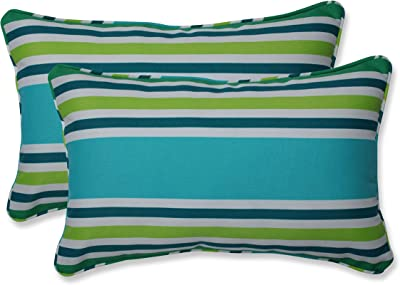 Amazon Com Pillow Perfect Outdoor Indoor Cabana Stripe Lumbar Pillows 11 5 X 18 5 Turquoise 2 Pack Home Kitchen
