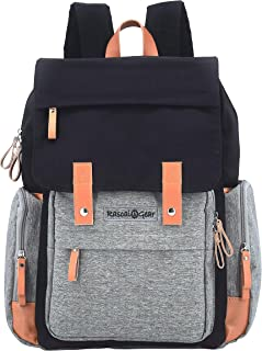 Rascal Gear Diaper Bag Backpack in Gray and Black with Two Large Capacity Insulated Pockets, Stroller Straps, Padded Laptop Pocket, Bonus Changing Pad; Waterproof; Machine Washable; The Tiffany Bag