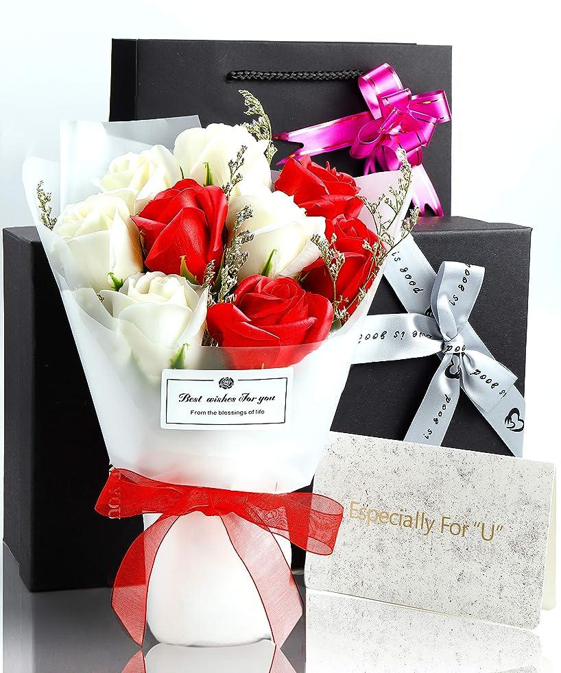 オペレーター田舎一回ソープフラワー 花束 プレゼント ギフト 誕生日 母の日 メッセージカード付き(レッド)