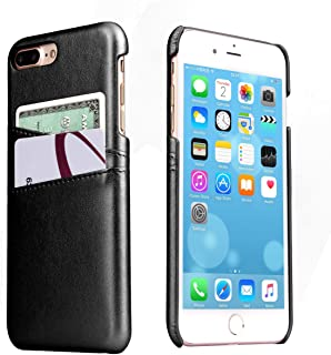 iPhone 8 Plus Leather Card Case - SOWOKO Slim iPhone 7 Plus Wallet Case, Credit Card Slots ID Holder Protective Phone Cover for Apple iPhone 8 Plus (2017) / iPhone 7 Plus (2016) - Black