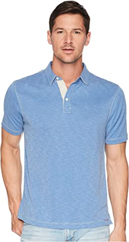 Lux Textured Tencel Short Sleeve Knit Polo with Contrast Stitch
