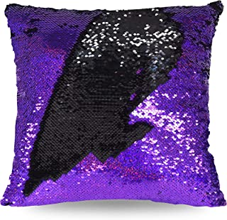 Idea Nuova Mermaid Pillow Decorative Pillow, 17x17, Purple/Black