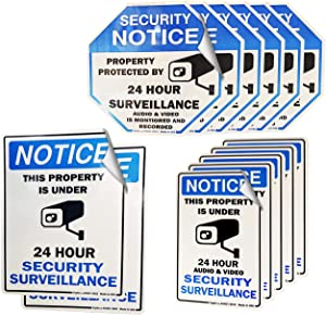 Psyfer Security (13 Pack) Fade-Free Decal Stickers for Home or Business Windows CCTV Audio & Video Camera Monitoring Property Surveillance Door Warning Notice Outdoor Sign Laminates [Made in USA]