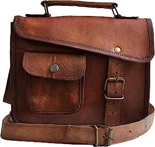33 cm Hecha a mano Marron elegante Vintage Bolso de cuero del mensajero cada día Bolso de hombro cartera para tablets, ipa...