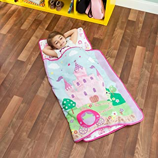 Everyday Kids Toddler Nap Mat with Removable Pillow -Princess Storyland- Carry Handle with Fastening Straps Closure, Rollup Design, Soft Microfiber for Preschool, Daycare, Sleeping Bag -Ages 2-4 years