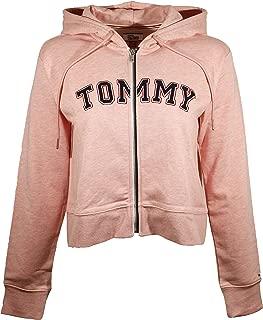 Womens Full Zip Tommy Logo Fleece Lined Hoodie