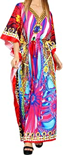 LA LEELA Women's Maxi Summer Caftan Outfit Casual Dress Cover Ups Drawstring