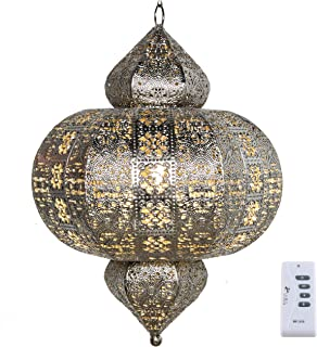 River of Goods 16169 Punched Metal Cordless LED Round Lantern, Silver
