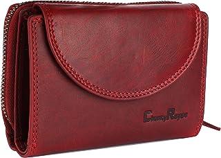 Chunkyrayan Echtleder Damen Geldbörse Hochwertig Vintage RFID Schutz inklusive Leder Schlüsselanhänger GB-3 Red