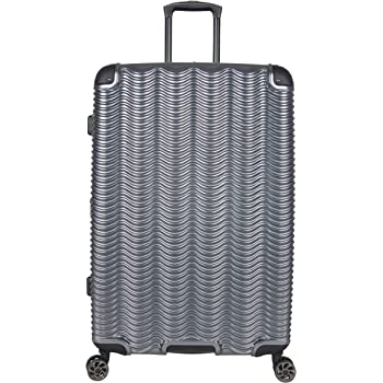 """Kenneth Cole Reaction Wave Rush 28"""" Lightweight Hardside 8-Wheel Spinner Expandable Checked Suitcase, Metallic Charcoal, Inch"""