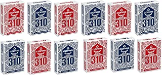 Copag 310 Playing Cards 12-Deck Pack Red/Blue, Poker Size/Regular Index, True Linen Plastic Coated Finish