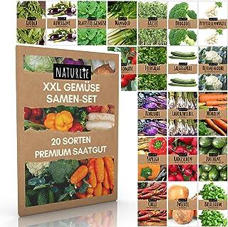 20er Gemüse Samen Set von Naturlie, 20 Sorten Premium Gemüse Saatgut im Gemüseset für den Anbau im Garten, Hochbeet oder Balkon - XXL Gemüsesamen Sortiment - Samenfestes Saatgut!