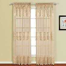 لوحة ستارة نافذة شفافة من الدانتيل من United Curtain Valerie مقاس 132.8 سم × 152.4 سم، رمادي داكن