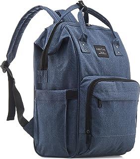 KiddyCare 尿布包背包,多功能防水孕妇包婴儿旅行袋,大容量,时尚耐用,灰褐色 深蓝色