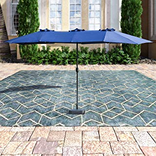 Patio Festival ® Double-Sided Outdoor Umbrella,15x9 ft Aluminum Garden Large Umbrella with Tilt and Crank for Market,Camping,Swimming Pool (Middle, Blue)