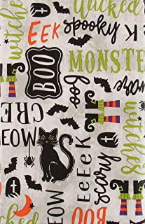 Black Cat Scary Halloween Symbols and Sentiments Vinyl Flannel Back Tablecloth (52