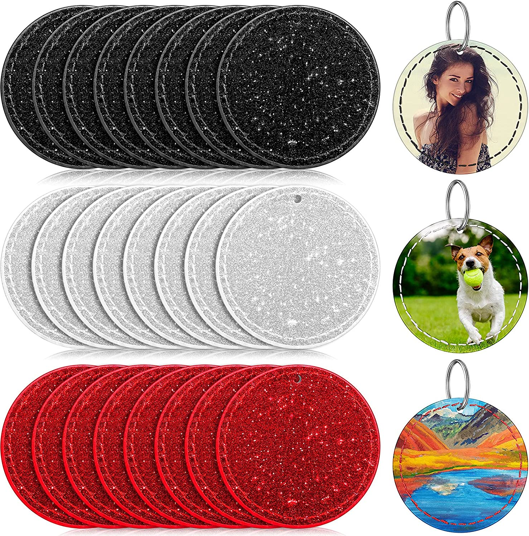 24 Pieces Sublimation Keychain Glitter Leather Blanks DIY Heat Transfer Pendant (Circular)