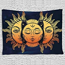 BLEUM CADE Icejazz Psychedelic Tapestry Indian Moon and Sun with Many Fractal Faces Tapestry Celestial Energy Mystic Tapestries Wall Hanging Tapestry for Bedroom Living Room Dorm (Face, 59.1