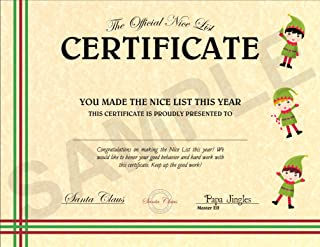 North Pole Letters Personalized Christmas Nice List Certificate