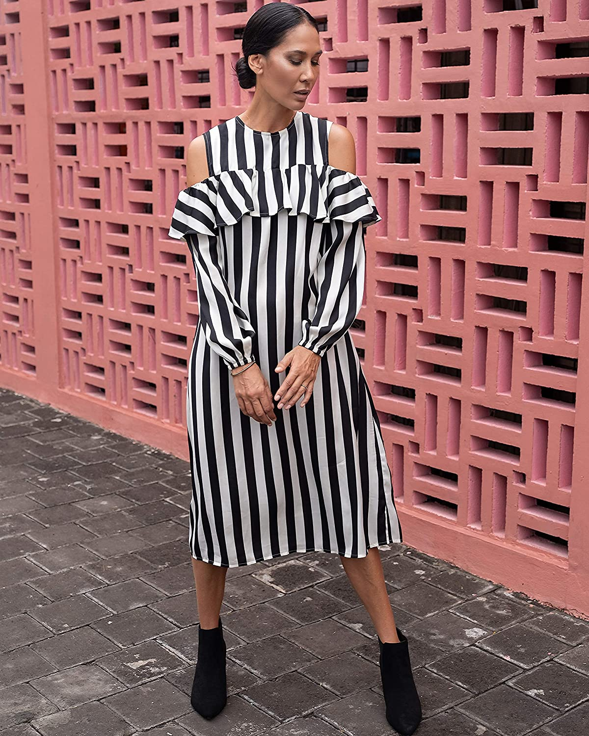 The Drop Women's Black White Long-Sleeve Mi Store Discount mail order Stripe Cold-Shoulder