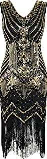 PrettyGuide Women 1920s Dress V Neck Beaded Sequin Deco Gatsby Inspired Flapper Dress