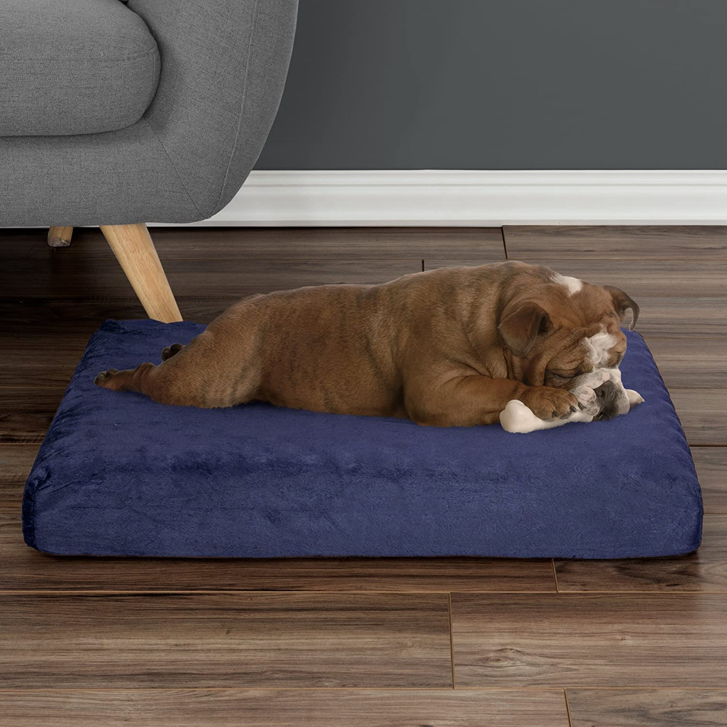 PETMAKER Orthopedic Pet BedEgg Crate and Memory Foam with Washable Cover, Medium, Navy(80PET6004)