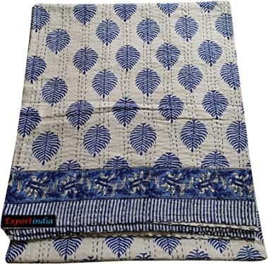 Exportindia Indian Hand Block Blue Leaf Printed Kantha Quilt Flat Bedsheet Pure Cotton Kantha Quilt King Size Sofa Cover Kant