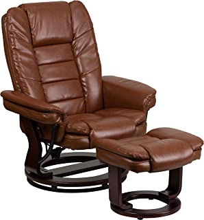 Flash Furniture Contemporary Multi-Position Recliner with Horizontal Stitching and Ottoman with Swivel Mahogany Wood Base in Brown Vintage Leather, BT-7818-VIN-GG