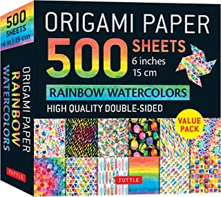 Origami Paper 500 Sheets Rainbow Watercolors 6 (15 CM): Tuttle Origami Paper: High-Quality Double-Sided Origami Sheets Pri...