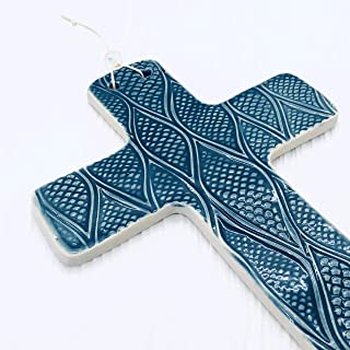 JANECKA Cross of Hope, Sea Blue Wall Hanging, 5 x 7 Inches, Pottery 9th Anniversary Gift
