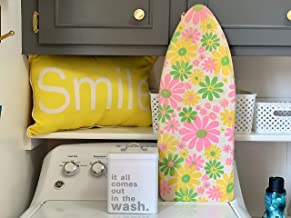 Ironing Board - Vintage 1960s Retro Flower Power Fabric Cover Space Saver Travel Ironing Board Groovy Shelf