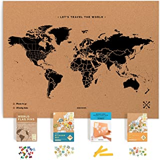 Push Pin Travel Map Kit Includes: Cork World Travel Map, World Flags, Monument and Food Stickers, for Travelers (Black, XL (23.6 x 35.4 inches))