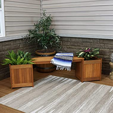 Sunnydaze Meranti Wood Outdoor Planter Box Bench with Teak Oil Finish - Furniture for Garden, Patio, Backyard, Porch and Deck