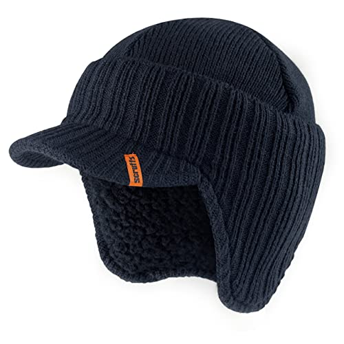 4a38854a999a5 Scruffs Peaked Beanie Hat Navy Insulated Warm Knitted Thermal Winter  Stylish Peak Cap
