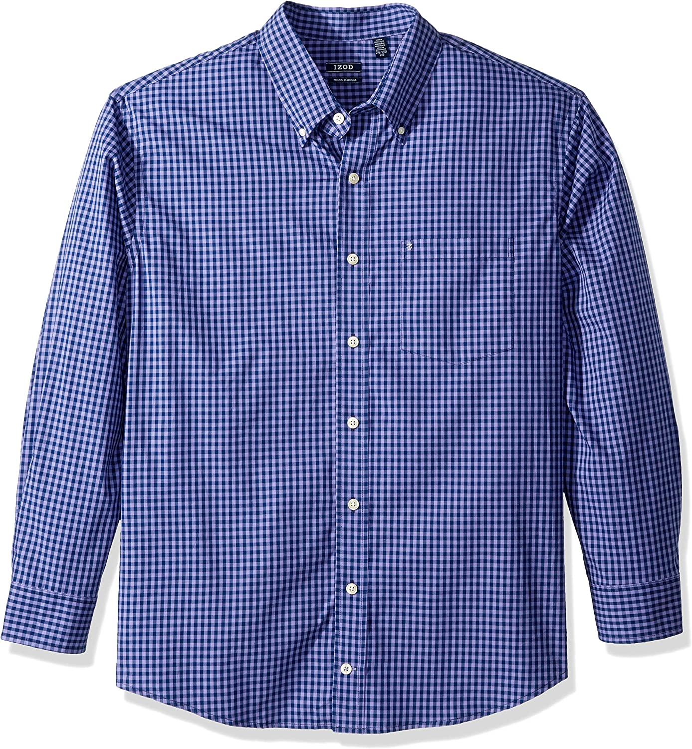 IZOD Men's Big and Tall Button Down Long Sleeve Performance Gingham Shirt (Discontinued)