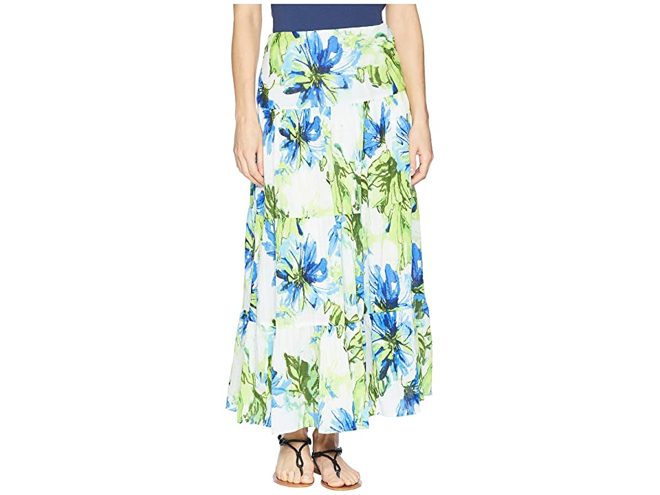 CHAPS Tiered Maxi Skirt (Blue Multi 1) Women